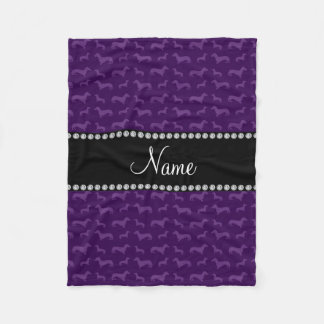 Personalized name purple dachshunds fleece blanket