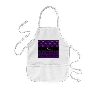 Personalized name purple damask purple diamonds aprons