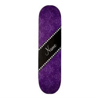 Personalized name Purple damask Skateboards
