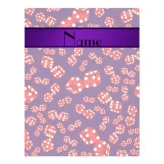 Personalized name purple dice pattern 21.5 cm x 28 cm flyer