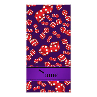 Personalized name purple dice pattern photo card