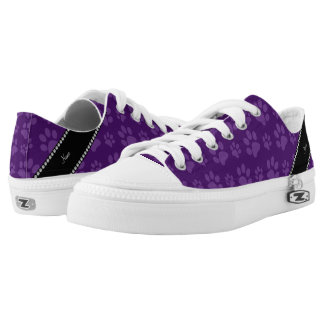 Personalized name purple dog paw prints printed shoes