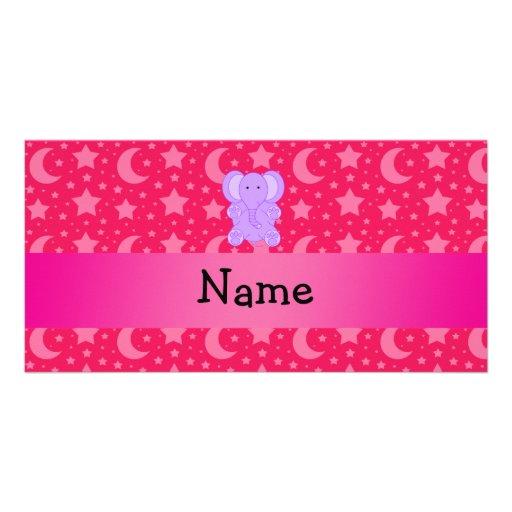 Personalized name purple elephant custom photo card