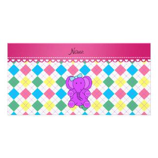 Personalized name purple elephant rainbow argyle customised photo card