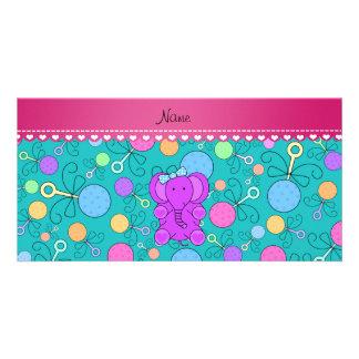 Personalized name purple elephant turquoise rattle custom photo card