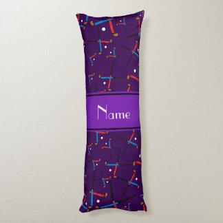 Personalized name purple field hockey body pillow