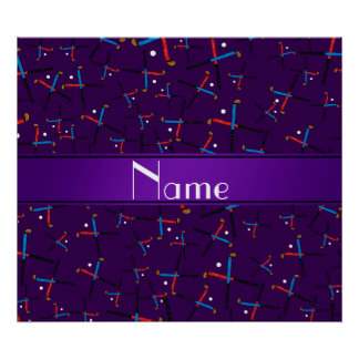 Personalized name purple field hockey pattern poster