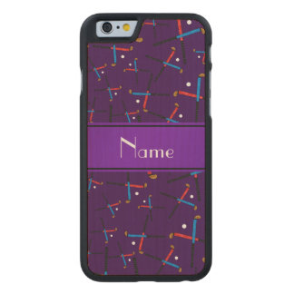 Personalized name purple field hockey pattern carved® maple iPhone 6 case