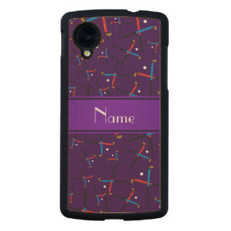Personalized name purple field hockey carved® maple nexus 5 slim case