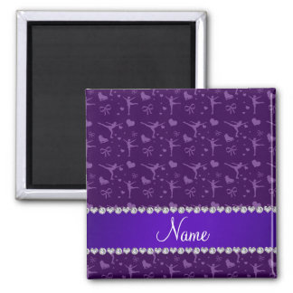 Personalized name purple figure skating refrigerator magnet