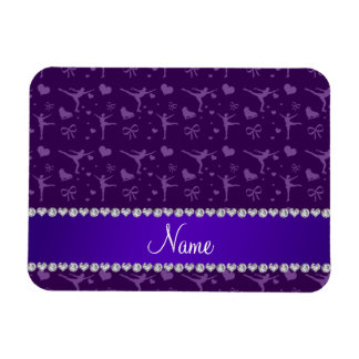 Personalized name purple figure skating vinyl magnets