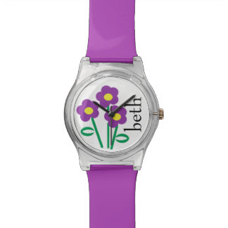 Personalized Name Purple Floral Flower Watch