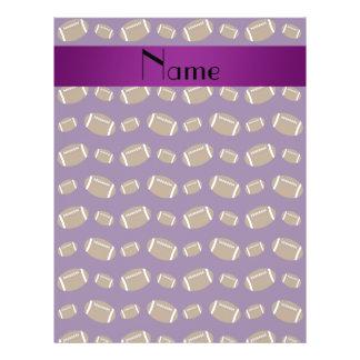 Personalized name purple footballs 21.5 cm x 28 cm flyer