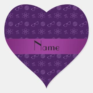 Personalized name purple geek pattern sticker