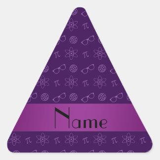 Personalized name purple geek pattern triangle sticker