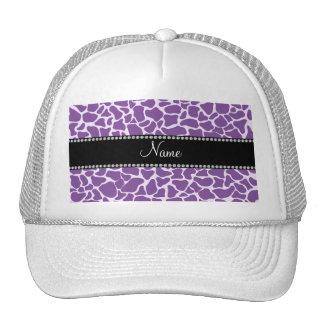 Personalized name purple giraffe pattern trucker hat