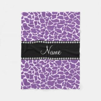 Personalized name purple giraffe pattern fleece blanket