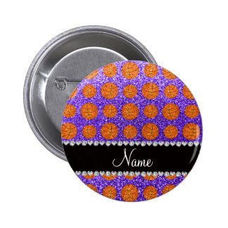 Personalized name purple glitter basketballs 6 cm round badge