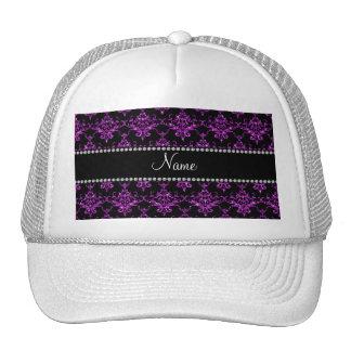 Personalized name purple glitter damask hats
