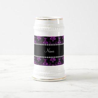 Personalized name purple glitter damask mug