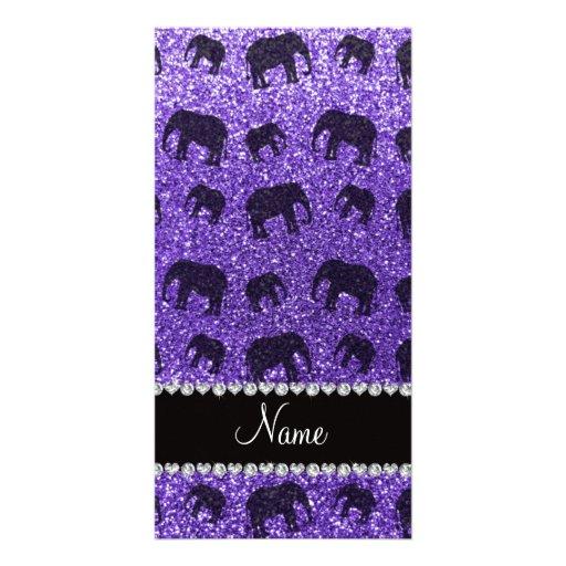 Personalized name purple glitter elephants custom photo card