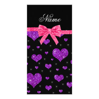 Personalized name purple glitter hearts pink bow photo greeting card