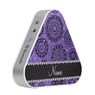 Personalized name purple glitter mandalas bluetooth speaker