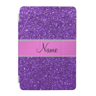 Personalized name purple glitter pink diamonds iPad mini cover
