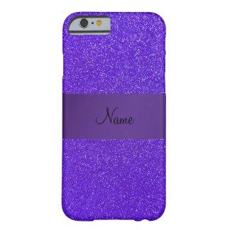 Personalized name purple glitter purple stripe barely there iPhone 6 case