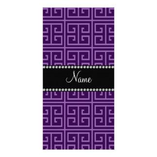 Personalized name purple greek key pattern picture card