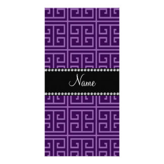 Personalized name purple greek key pattern picture card