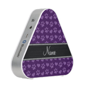 Personalized name purple hearts and paw prints