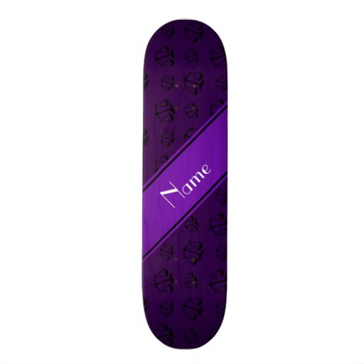 Personalized name purple justice scales skateboard