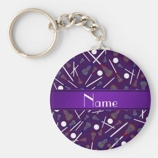 Personalized name purple lacrosse pattern keychains