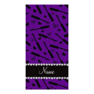 Personalized name purple mascara hearts bows customised photo card