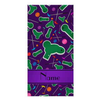Personalized name purple mini golf photo card template