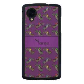Personalized name purple motorcycles carved® maple nexus 5 case