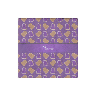 Personalized name purple peanut butter jelly stone magnet