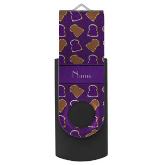 Personalized name purple peanut butter jelly swivel USB 2.0 flash drive
