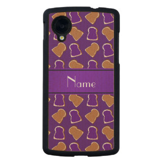 Personalized name purple peanut butter jelly carved® maple nexus 5 slim case
