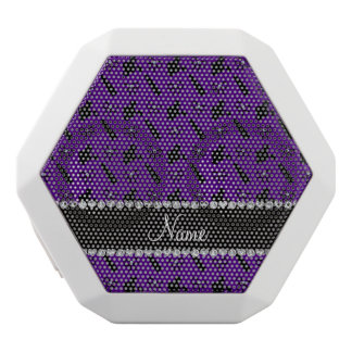 Personalized name purple perfume lipstick bows white boombot rex bluetooth speaker