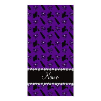 Personalized name purple perfume lipstick bows personalized photo card