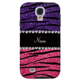 Personalized name purple pink glitter zebra stripe galaxy s4 case