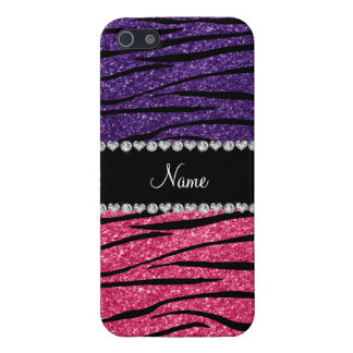 Personalized name purple pink glitter zebra stripe covers for iPhone 5