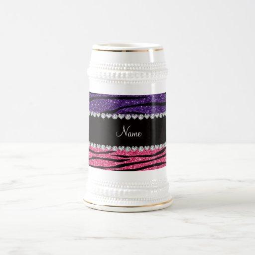 Personalized name purple pink glitter zebra stripe mug