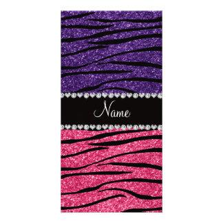 Personalized name purple pink glitter zebra stripe picture card