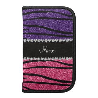 Personalized name purple pink glitter zebra stripe planners