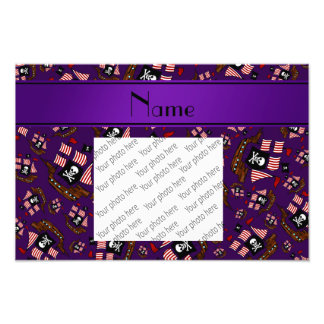Personalized name purple pirate ships photographic print