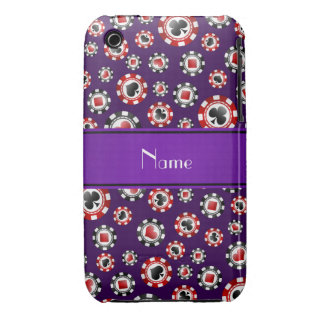 Personalized name purple poker chips iPhone 3 covers