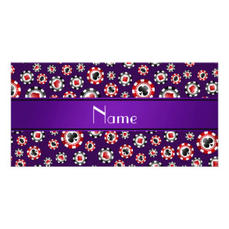 Personalized name purple poker chips customized photo card